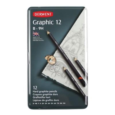 Derwent Graphic 12db-os kemény grafitceruza készlet