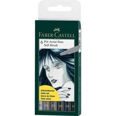 Faber-Castell Pitt Artist Pen Soft Brush Grey 6db-os