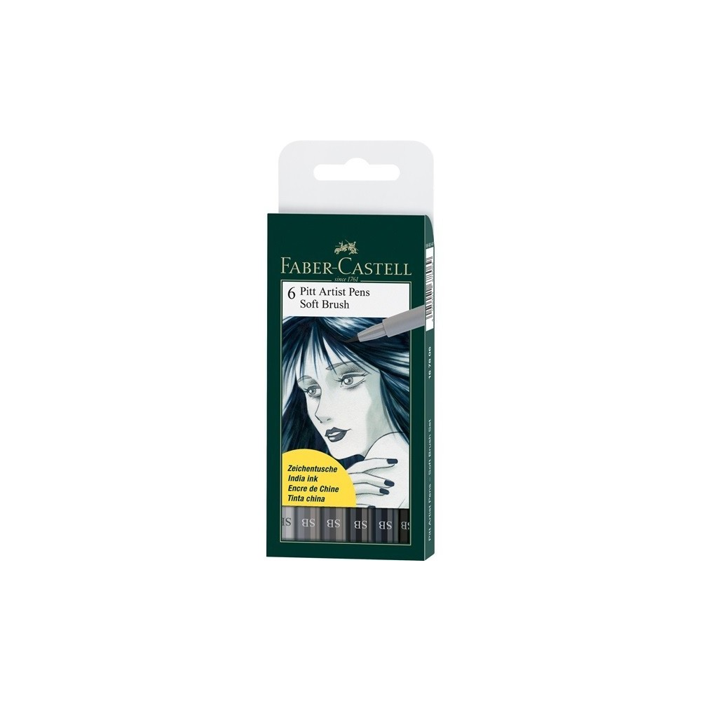 Faber-Castell Pitt Artist Pen Soft Brush Grey 6dbos