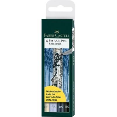 Faber-Castell Pitt Artist Pen Soft Brush Grey 4db-os