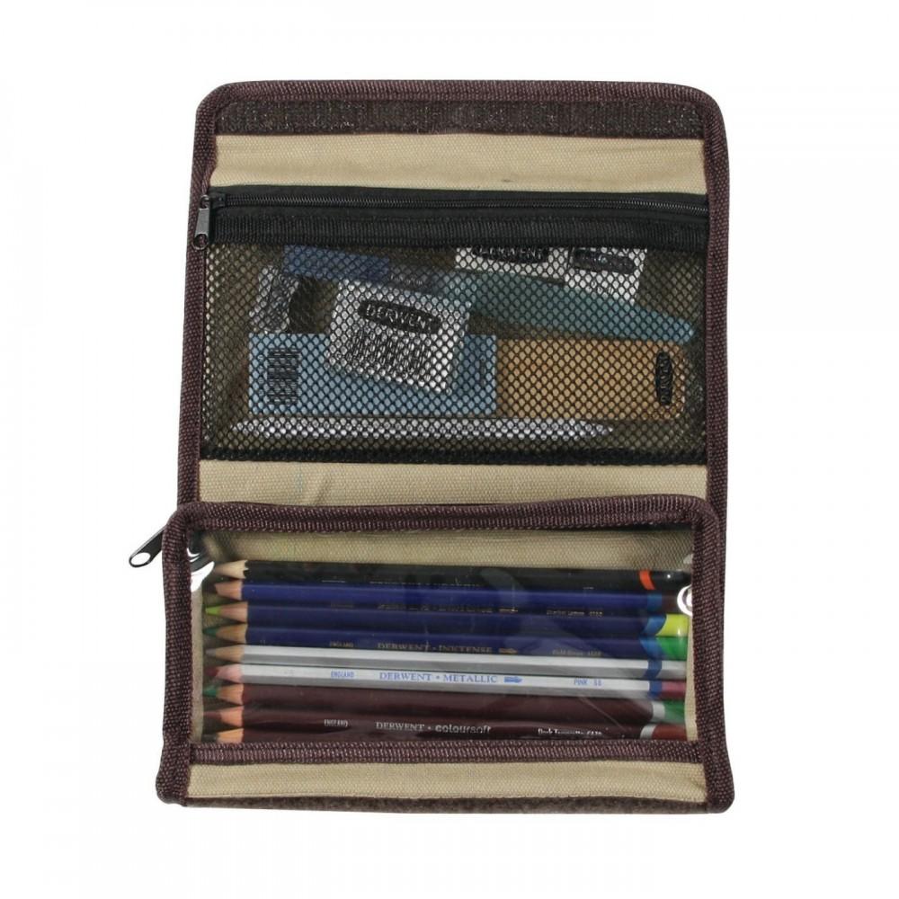 Derwent zsebes ceruzatartó textilből, 2 zsebes