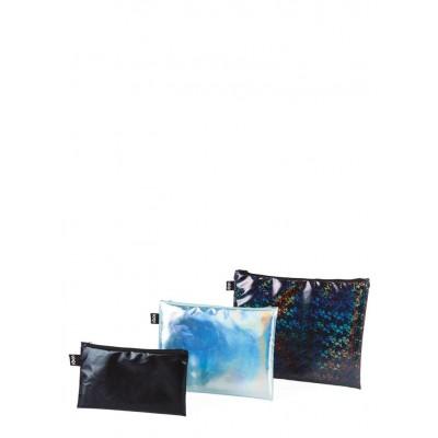 LOQI cipzáros tárolók, Metallic Black, Peral, Prism Zip Pockets (3 db)