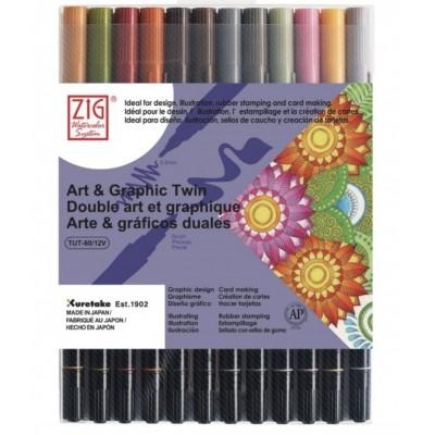 Kuretake Art&Graphic Twin 12db-os klt, Pastel