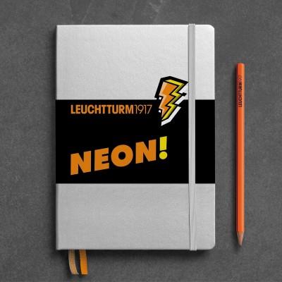 LEUCHTTURM1917 NEON edition - A5 Medium, silver&neon yellow pontozott lapos notebook