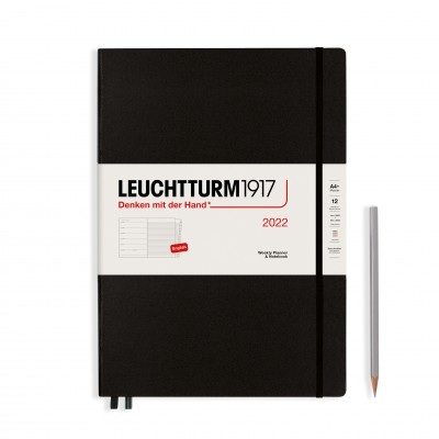Leuchtturm1917 határidőnapló 2022, A/4 heti felbontású naptár, fekete színben