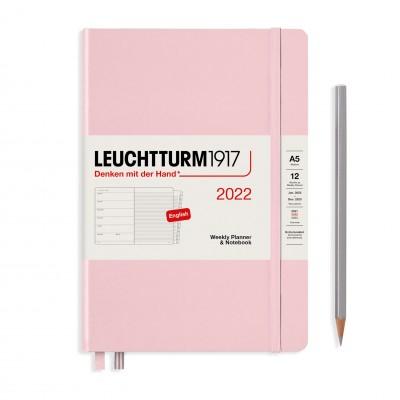 Leuchtturm1917 határidőnapló 2022, A/5 heti felbontású naptár és notesz, powder