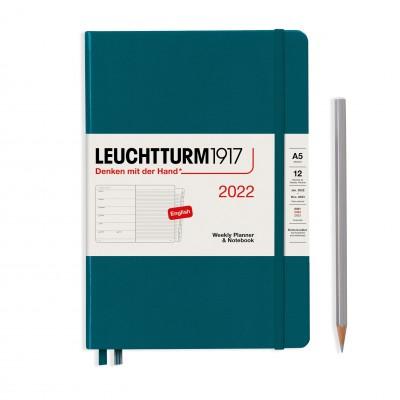 Leuchtturm1917 határidőnapló 2022, A/5 heti felbontású naptár és notesz, Pacific Green