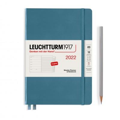 Leuchtturm1917 határidőnapló 2022, A/5 heti felbontású naptár és notesz, Stone Blue