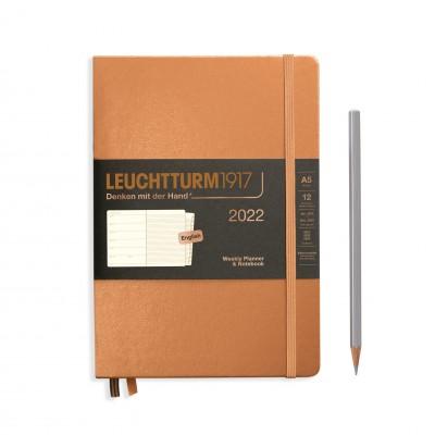 Leuchtturm1917 határidőnapló 2022, A/5 heti felbontású naptár és notesz, Copper