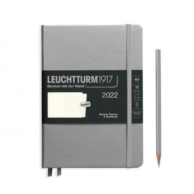 Leuchtturm1917 határidőnapló 2022, A/5 heti felbontású naptár és notesz, Silver