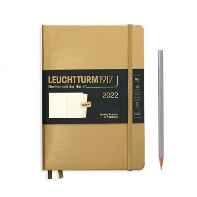Leuchtturm1917 határidőnapló 2022, A/5 heti felbontású naptár és notesz, Gold