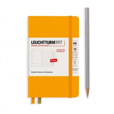 Leuchtturm1917 határidőnapló 2022, A/6 heti felbontású naptár és notesz, Rising Sun