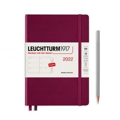 Leuchtturm1917 határidőnapló 2022, A/5 heti felbontású naptár, Port Red