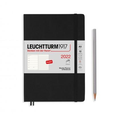 Leuchtturm1917 határidőnapló 2022, A/5 heti felbontású naptár és notesz, black