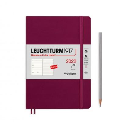 Leuchtturm1917 határidőnapló 2022, A/5 heti felbontású naptár és notesz, port red