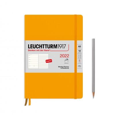Leuchtturm1917 határidőnapló 2022, A/5 heti felbontású naptár és notesz, rising sun