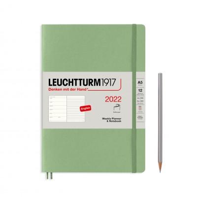 Leuchtturm1917 határidőnapló 2022, A/5 heti felbontású naptár és notesz, sage