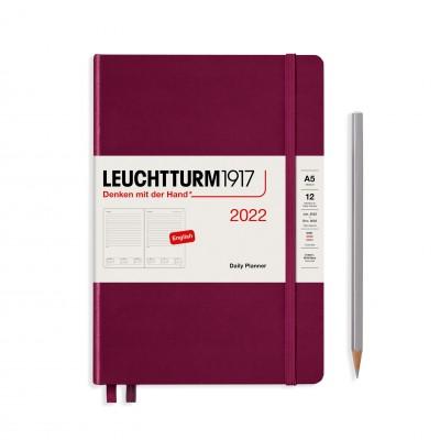 Leuchtturm1917 határidőnapló 2022, A5 napi felbontású, port red